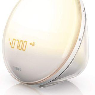 LIKE NEW Philips Wake-Up Light Alarm Clock with Colored Sunrise Simulation and Sunset Fading Night Light, White, HF3520