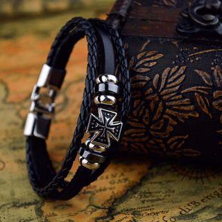 Bracelet - Black Cross Triple Leather Tour