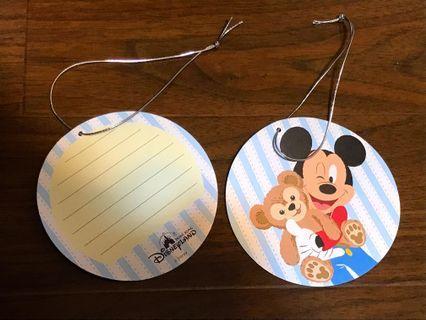 包郵 迪士尼 Disney 2014 Mickey Duffy BB車掛牌 兩個