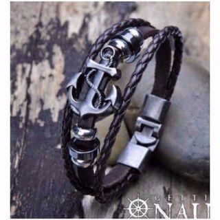 Bracelet - Silver Anchor Triple Leather Tour