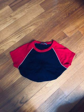 brandy melville raglan ribbed bella top/shirt in red x navy blue and white outlines