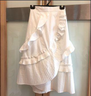 白色百摺裙 裇衫料 後橡筋