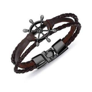 Bracelet - Black Helm's Wheel, Brown Leather Triple Tour