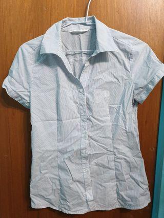NET -短袖藍橫條紋襯衫