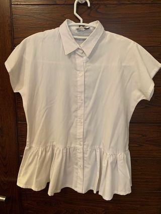 Cotton ink White peplum shirt
