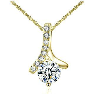 18K Gold Elegant Design Shiny Crystal Zircon Pendant Necklace #09