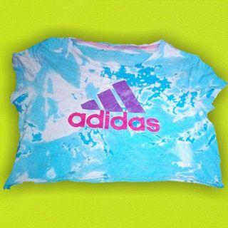 Adidas acid wash crop tee xs