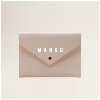 Mango 全新 裸色 唇印 口紅印 吻痕 化妝包 萬用包 收納包 隨身包 信封包 手拿包 BESOS