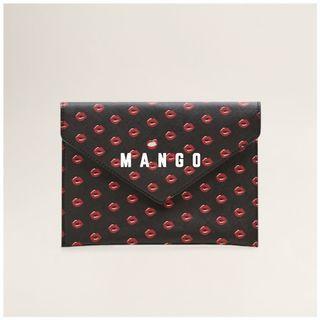 Mango 全新 黑色 唇印 口紅印 吻痕 化妝包 萬用包 收納包 隨身包 信封包 手拿包 BESOS
