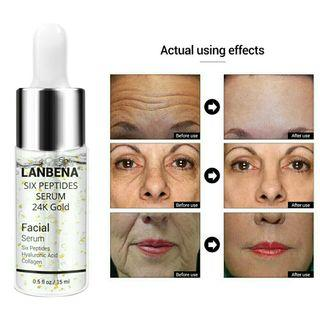 LANBENA 24K GOLD SIX PEPTIDES Serum Anti-Aging Wrinkles Brightening Firming Lifting Hyaluronic Acid 15ml Serum