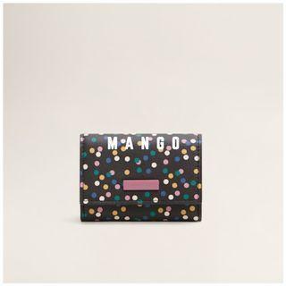 Mango 全新 黑色 多彩 波卡圓點 圓點 斑點 印花 短夾 皮夾 零錢包 錢包 鑰匙包 卡夾 證件夾 HOJAS