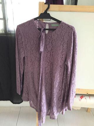 Poplook Lilac Lace Top