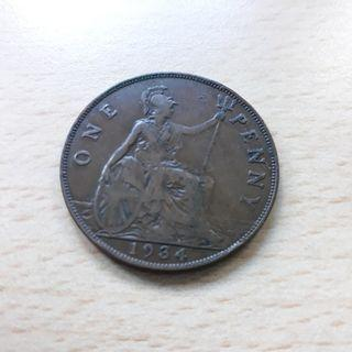 COINGB. 1934 Georgivs V. Great Britain Penny. King George.