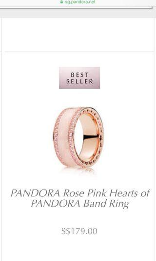 🚚 Pandora rose pink hearts band ring