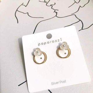 🚚 韓甜美貝殼小花雙圓環S925銀針耳環耳針/可改耳夾