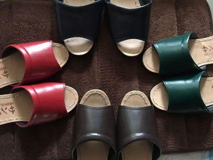 真皮室內拖鞋 皮革 生牛皮 平底拖鞋 地板拖  山大魯 吸水 吸汗 台灣製