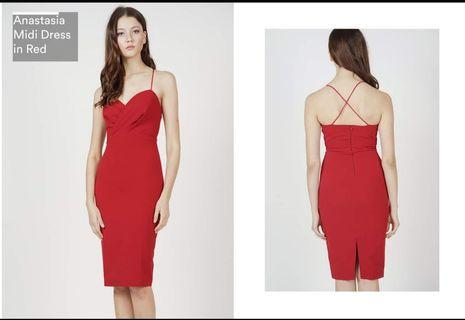 Midi dress in red