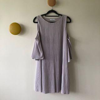 🚚 [Mango] Pleated Off-Shoulder Dress in Purple