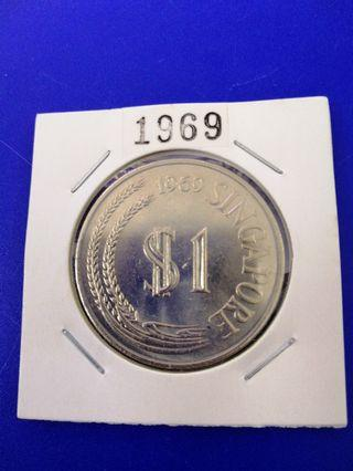 Singapore 1969 Stylised Lion Cupro Nickel $1 UNC Coin