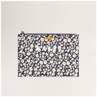 Mango 全新 黑色 雛菊 碎花 花卉 印花 化妝包 萬用包 收納包 隨身包 信封包 手拿包 MARGA  配件