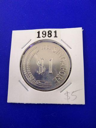 Singapore 1981 Stylised Lion Cupro Nickel $1 UNC Coin