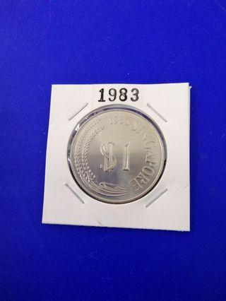 Singapore 1983 Stylised Lion Cupro Nickel $1 UNC Coin