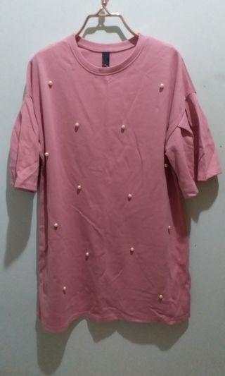 韓國 korea 粉紅珍珠長身上衣 top pink