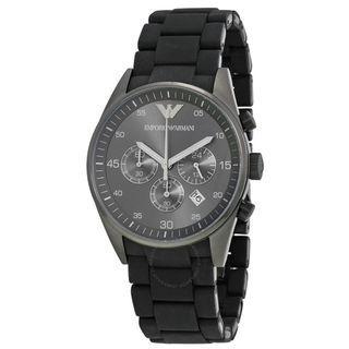 NEW Emporio Armani AR5889 Men's Sportivo Chronograph Black Dial Strap Watch (Black)