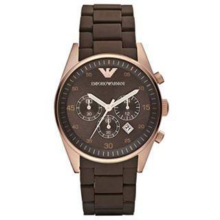 NEW Emporio Armani Sportivo Brown Silicone Strap Men's Watch AR5890 (Brown)
