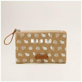Mango 全新 黃麻 亞麻 貝殼 扇貝 海洋風 零錢包 錢包 鑰匙包 萬用包 隨身包 小包 CONCHAS 配件