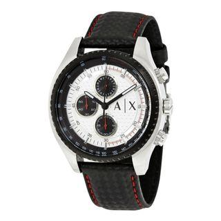 NEW Armani Exchange AX1611 Men's The Driver Two White Dial Black Leather Watch