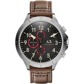 NEW Armani Exchange AX1755 Romulous Chronograph Black Dial Leather Men's Watch (Brown)