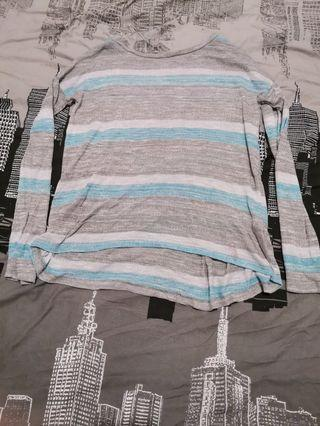 Grey blue Striped top