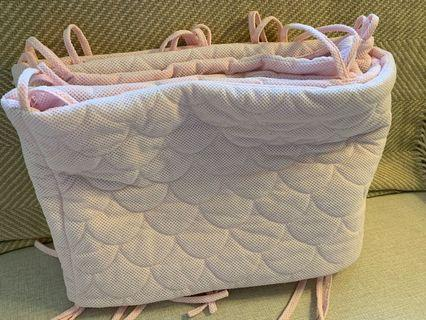 Cot bumpers - breathable, pink