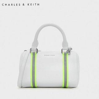 SAG6029 White Charles & Keith Neon Strap Detail Duffel Bag