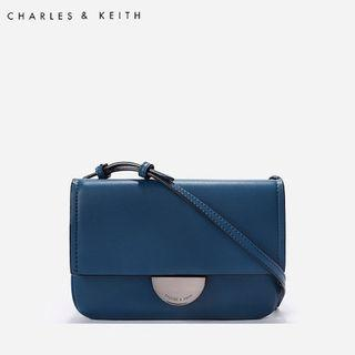 SAG6050 Blue Charles & Keith Metallic Accent Push Lock Pouch