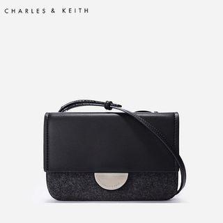 SAG6050 Black Charles & Keith Metallic Accent Push Lock Pouch