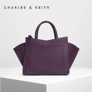 SAG6200 Purple Charles & Keith Geometric Structured City Bag