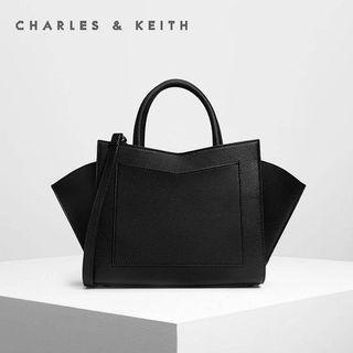 SAG6200 Black Charles & Keith Geometric Structured City Bag