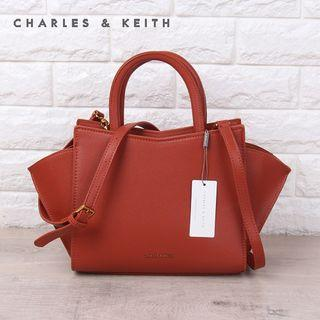SAG6200 Brown Charles & Keith Geometric Structured City Bag