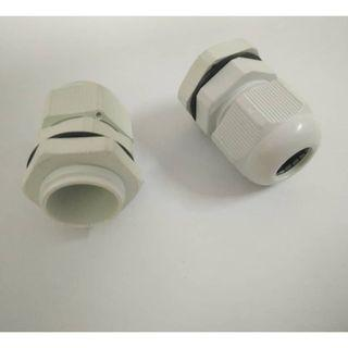 2 pcs PG11 white plastic waterproof cable feed connector