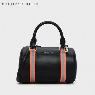 SAG6029 Black Charles & Keith Neon Strap Detail Duffel Bag