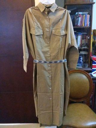 Korean army oversized long dress