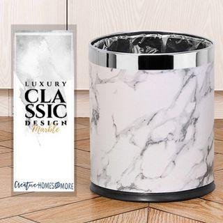 FAUX LEATHER MARBLE PRINT LUXE DOUBLE LAYER TRASH CAN
