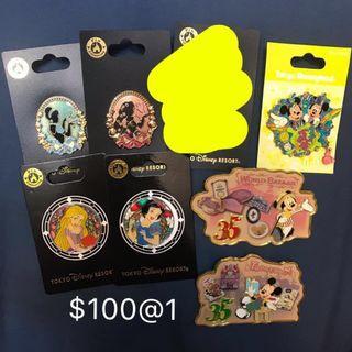 [平郵+$3.7-$7.3]日本迪士尼徽章pin disney pin trading ariel rapunzal snow white aiw alice belle 迪士尼公主 迪士尼徽章交換