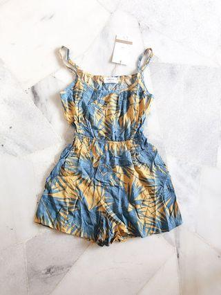 Bright Yellow Blue Romper / Jumpsuit