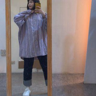 長古著襯衫 韓國購入 直條襯衫