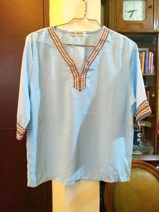 Light blue embroidery boho blouse