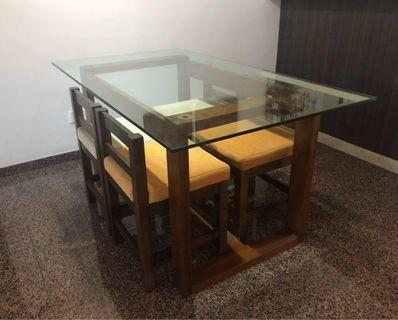 Dining Set - Designer 4-Seater Glasstop