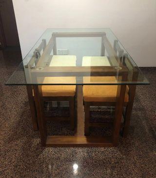 Designer 4-Seater Glasstop Dining Set
